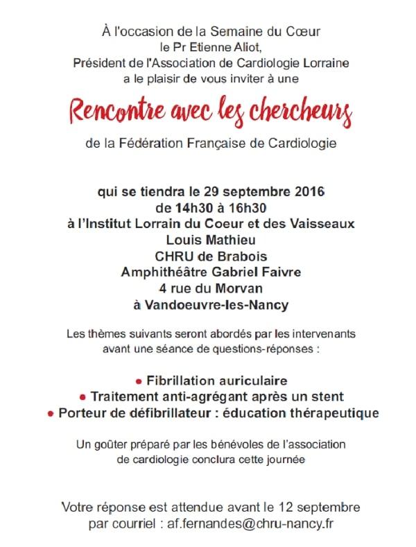 Programme de la Rencontre avec les cardiologues 2016