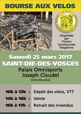 Affiche de la bourse aux vélos de l'Union Cyclotouriste Vogienne