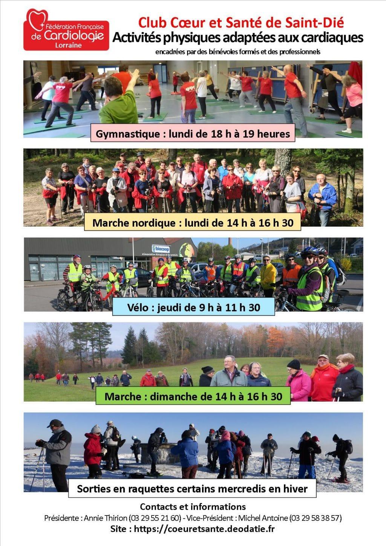 L'affiche sur les activités physiques proposée par le Club Cœur et Santé de Saint-Dié