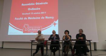 La vice présidente parmi les personnalités à la tribune lors de l'assemblée générale de l'Association de Cardiologie de Lorraine