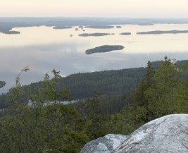 Vue aérienne du Parc Naturel de Koli en Karélie du Nord (forêts et lacs)