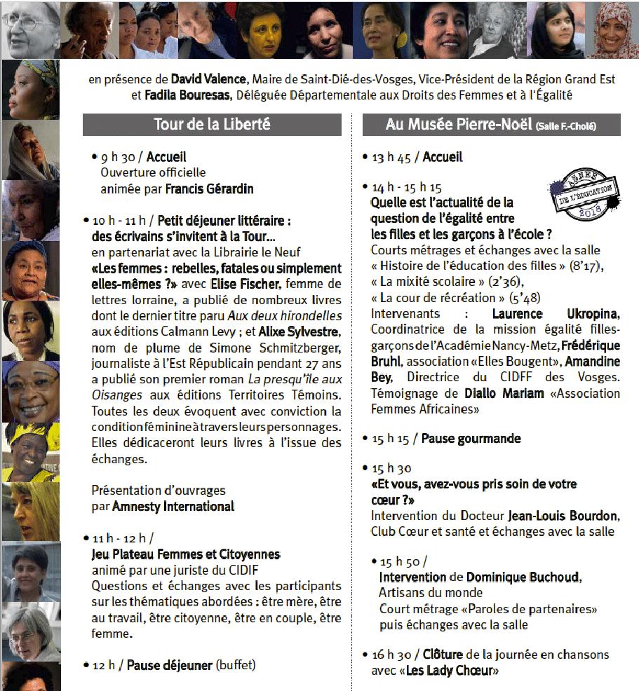Programme de la journée du 8 mars 2018