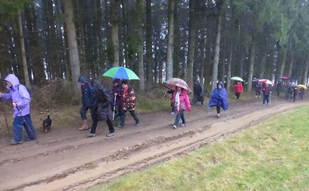 les marcheurs toujours sous la pluie