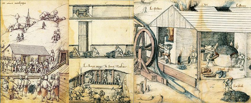 Illustration sur le travail dans la mine au début du seizième siècle