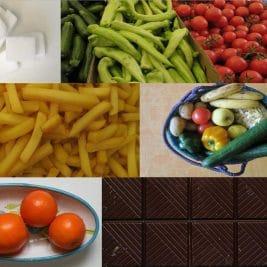 Photos de divers aliments (sucre, fruits, légumes, chocolat et frites)