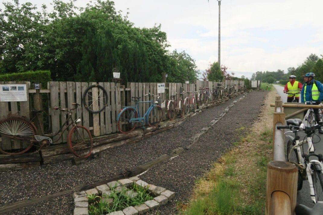 Photo de la palissade et ses vieux vélos