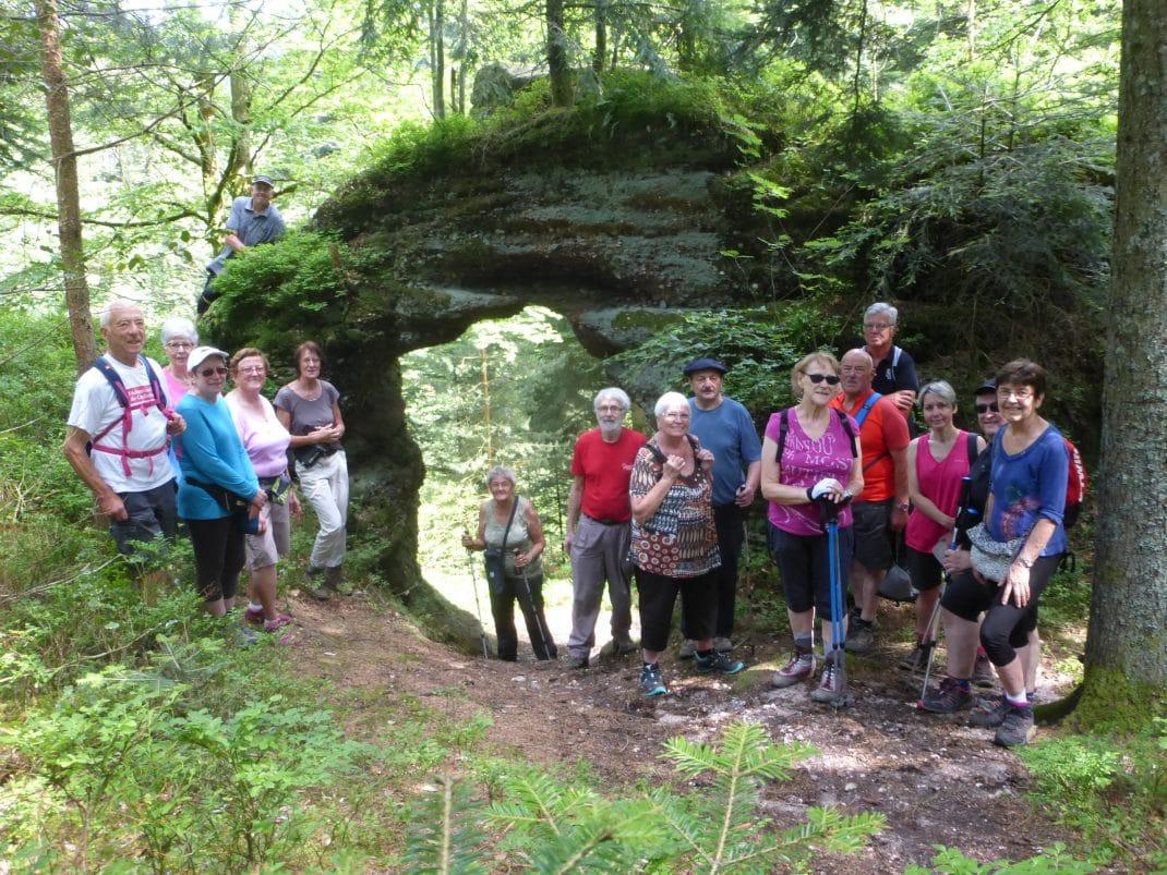 Le groupe à la roche Porte de la Grange