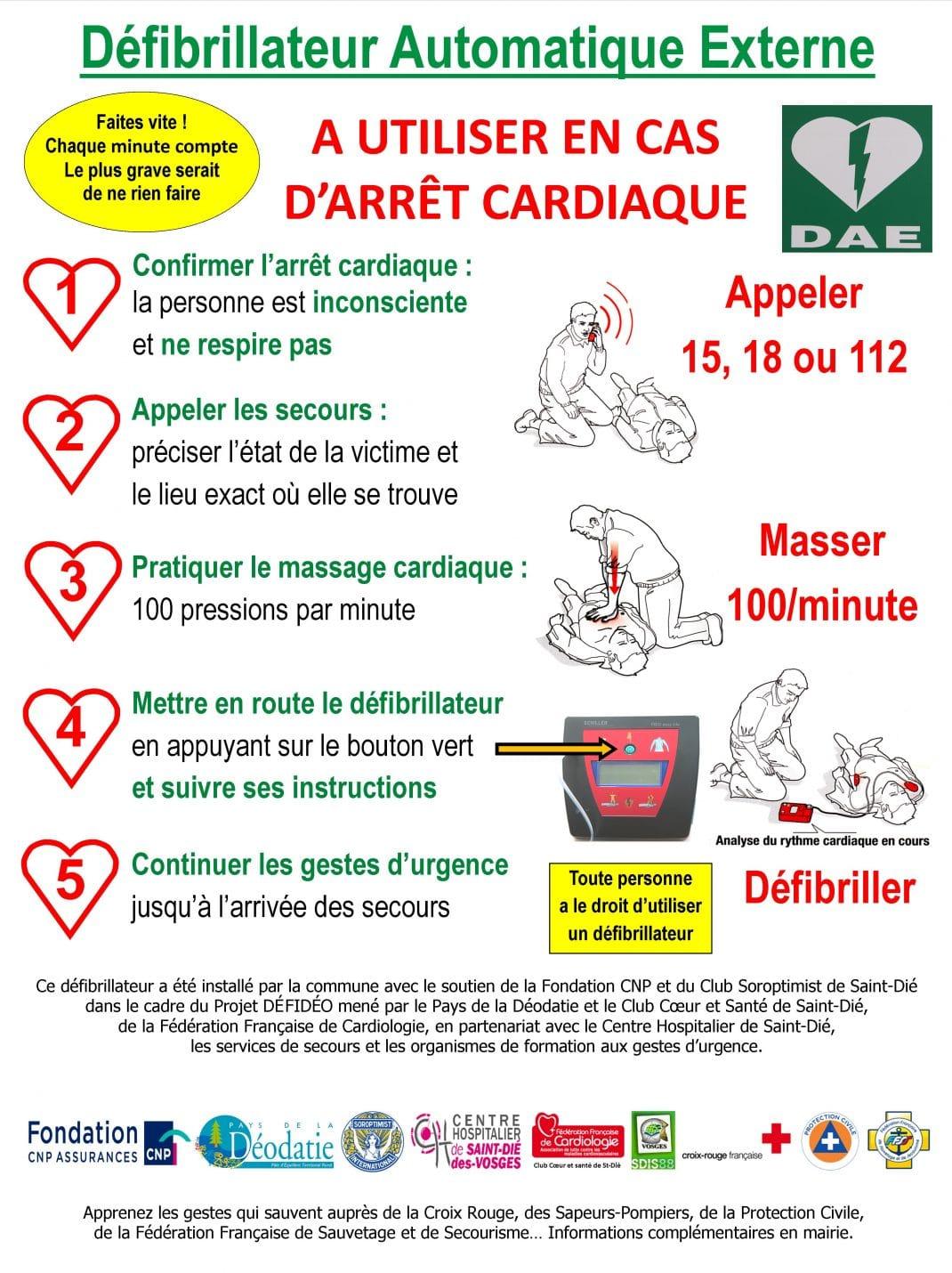 Image du panneau explicatif apposé à côté de chaque défibrillateur