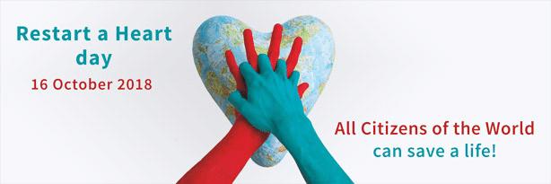 Dessin avec deux mains croisée sur une mappemonde en forme de coeur ave cle texte suivant : Journée mondiale de l'arrêt cardiaque : tous les citoyens du monde peuvent sauver une vie