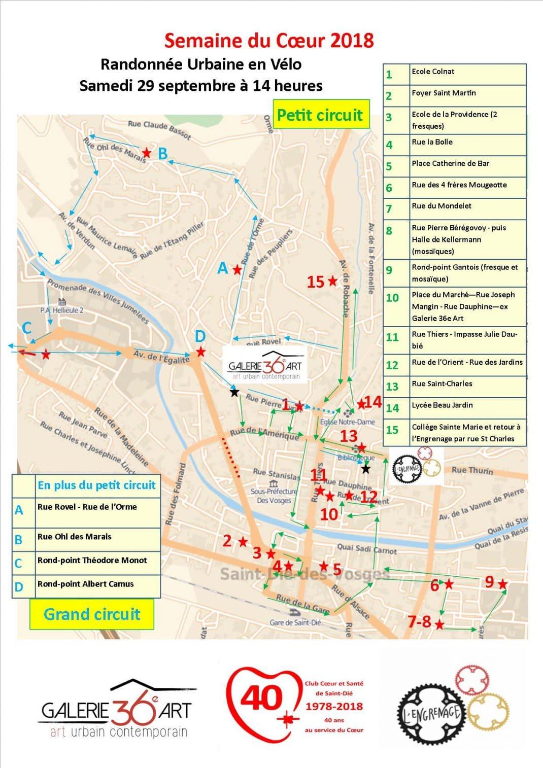 Carte des Circuits de la Randonnée Urbaine en Vélo