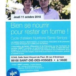 Affiche annonçant la réunion d'information sur les Ateliers Nutrition Santé Seniors le 11-10-2018