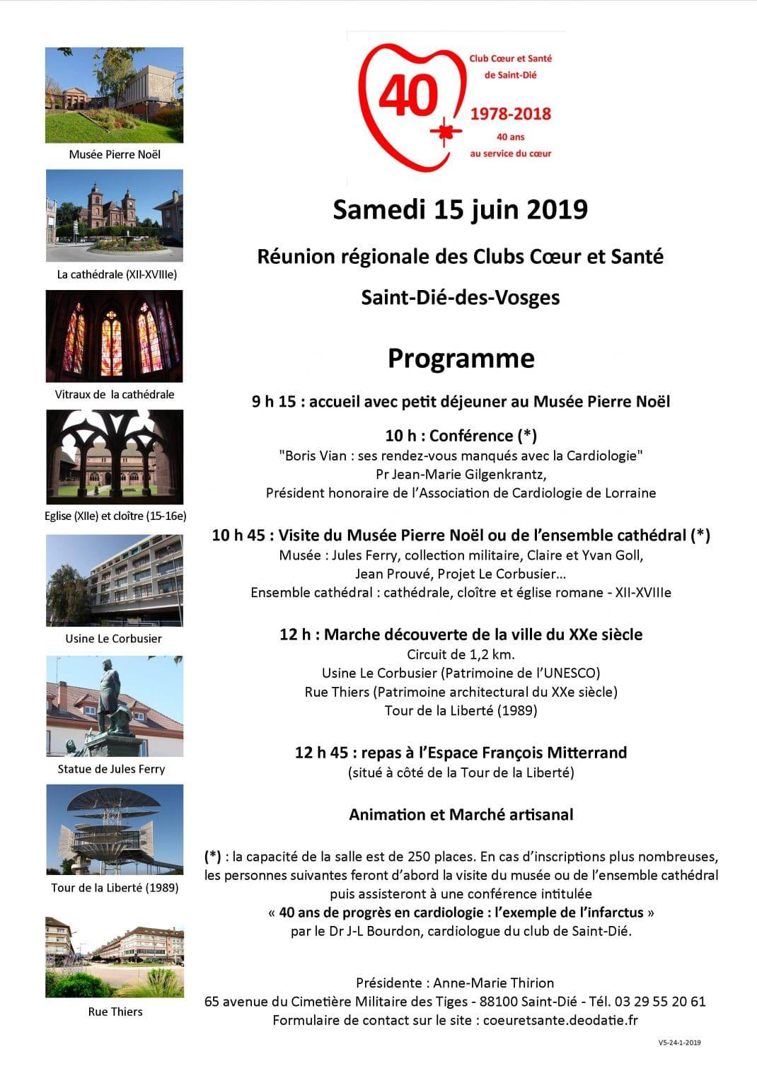 Photo du Programme de la Réunion régionale des Clubs Cœur et Santé-15-6-2019