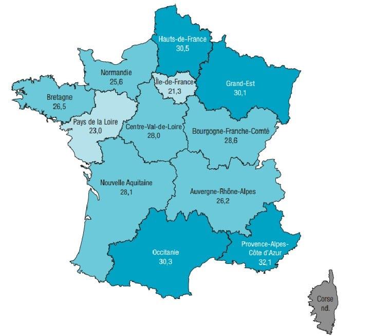 Carte du tabagisme en France selon les régions