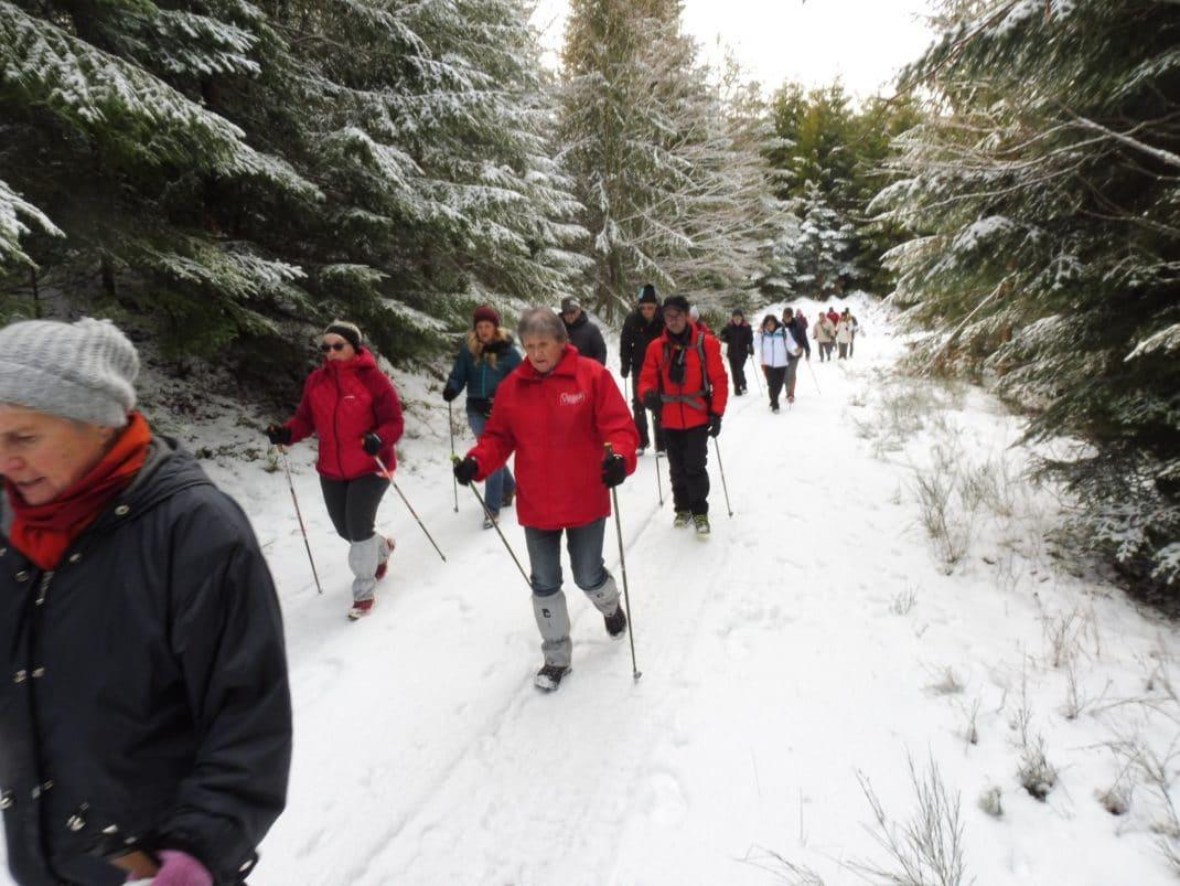 Photo des marcheurs sur les sentiers enneigés