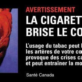 La cigarette, ça brise le cœur : un message de Santé Canada avec un cœur victime d'un infarctus
