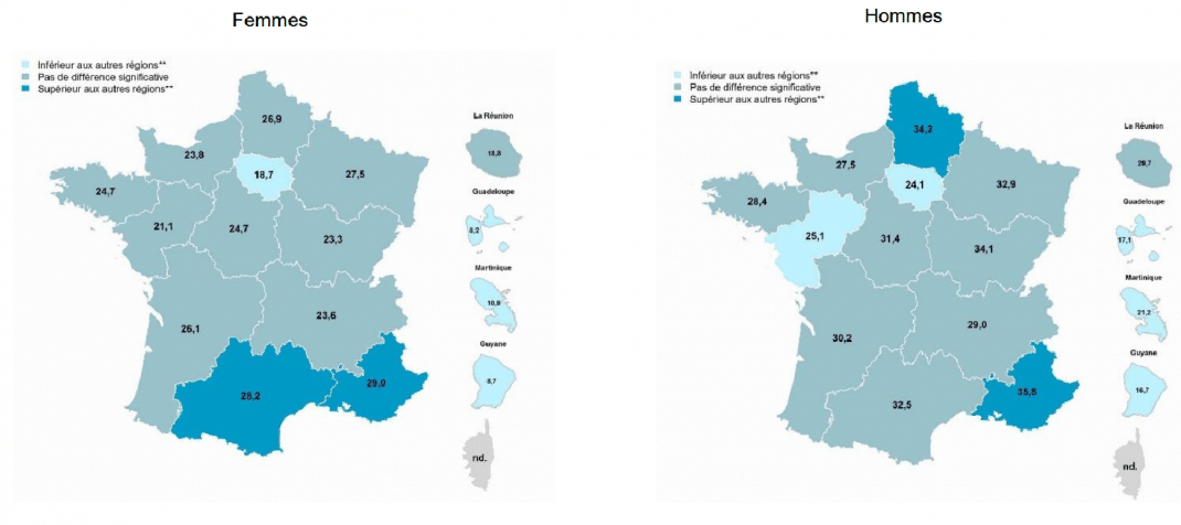 cartes du tabagisme selon le sexe et les régions