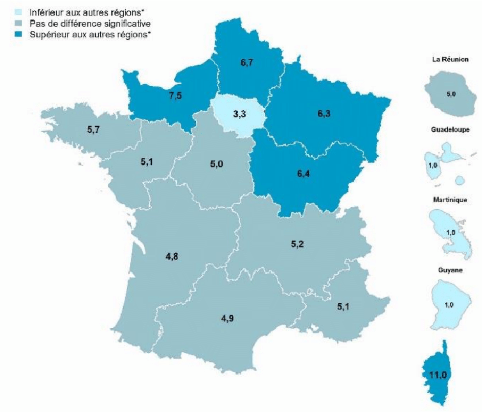 carte des régions avec le pourcentage de gros fumeurs quotidiens à 17 ans