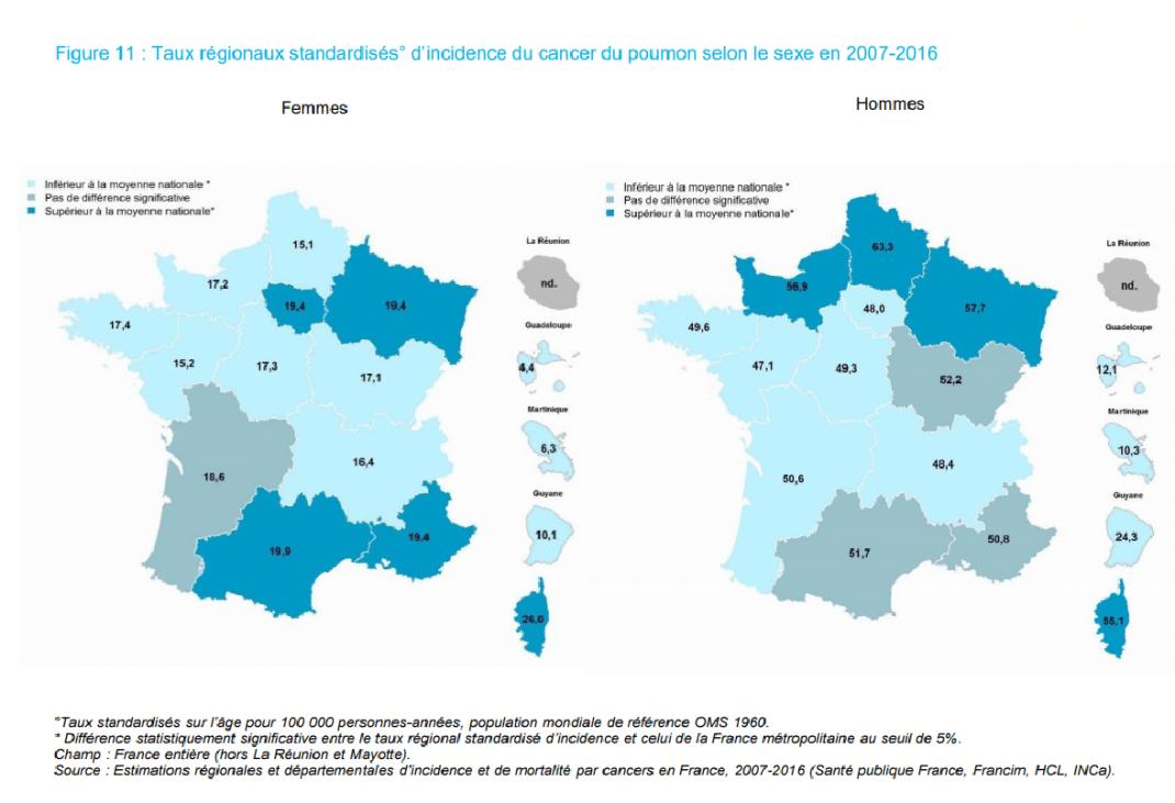 Carte des taux régionaux d'incidence du cancer du poumon selon le sexe en 2007-2016