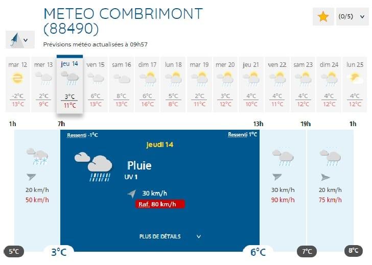 Copie d'écran de Météo France