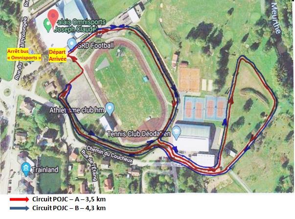 Plan des circuits au Palais des Sports