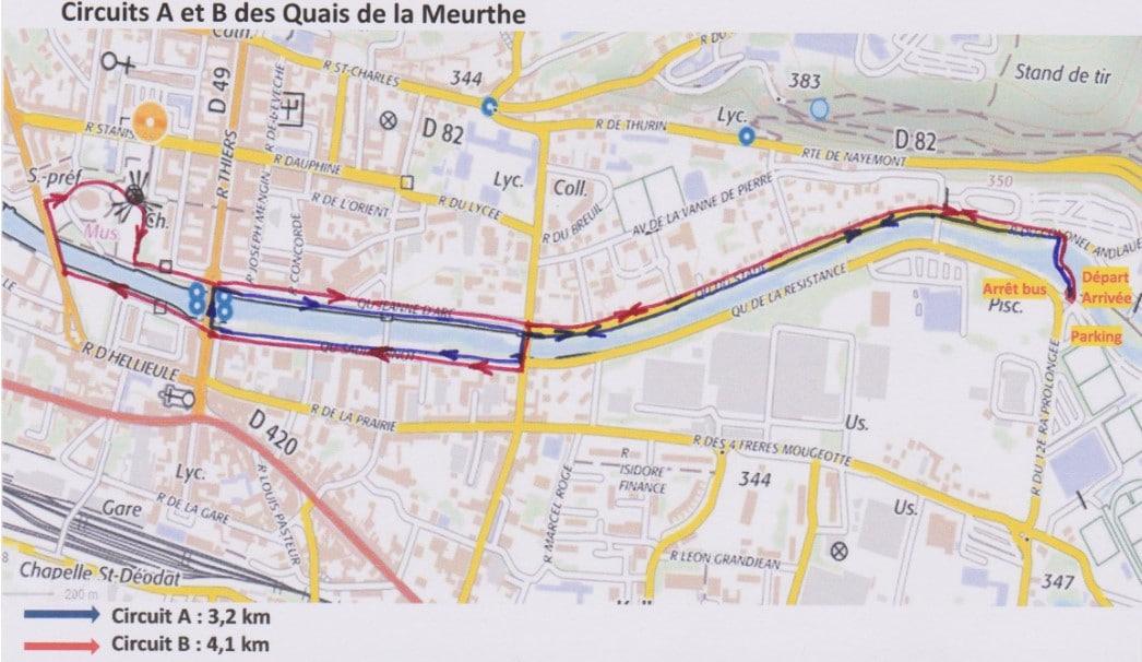 Plan de marche des circuits des Quais de la Meurthe